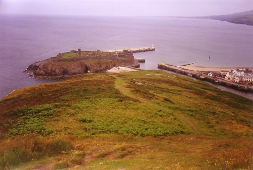 Peel Castle from Hill Descent
